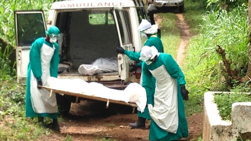 Health workers carry the body of an Ebola virus victim in Kenema, Sierra Leone, June 25, 2014. Picture taken June 25, 2014. REUTERS/Umaru Fofana