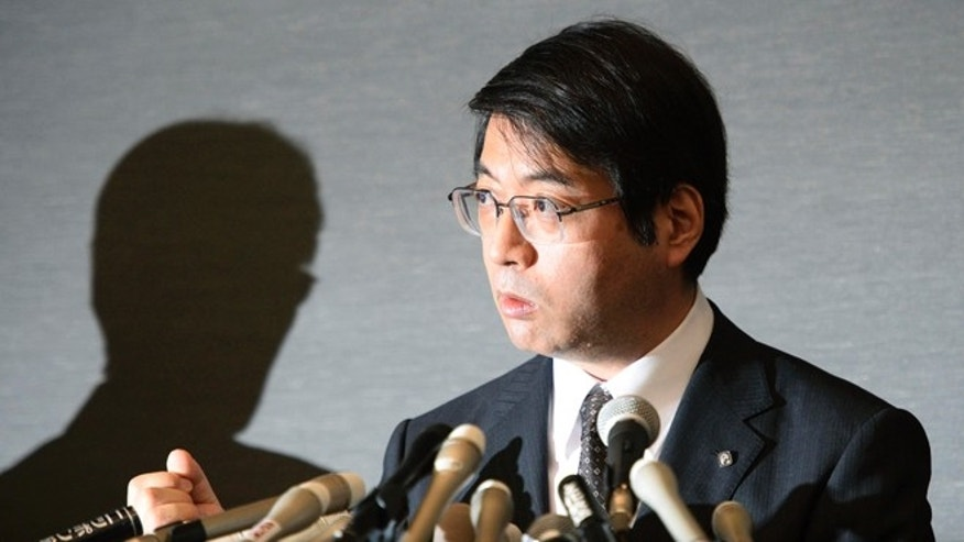 Yoshiki Sasai, deputy director of the Riken's Center for Developmental Biology, attends a news conference in Tokyo, in this photo taken by Kyodo April 16, 2014. Sasai, a Japanese researcher at the center of discredited research that was initially hailed as a potential breakthrough for stem-cell treatment, killed himself after months of stress and exhaustion, officials said on Tuesday. Mandatory credit REUTERS/Kyodo (JAPAN - Tags: SCIENCE TECHNOLOGY SOCIETY) ATTENTION EDITORS - THIS IMAGE WAS PROVIDED BY A THIRD PARTY. THIS PICTURE IS DISTRIBUTED EXACTLY AS RECEIVED BY REUTERS, AS A SERVICE TO CLIENTS. FOR EDITORIAL USE ONLY. NOT FOR SALE FOR MARKETING OR ADVERTISING CAMPAIGNS. MANDATORY CREDIT. JAPAN OUT. NO COMMERCIAL OR EDITORIAL SALES IN JAPAN - RTR419YZ