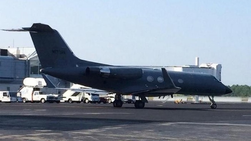 The plane carrying the second Ebola patient, Nancy Writebol. CREDIT: WLBZ