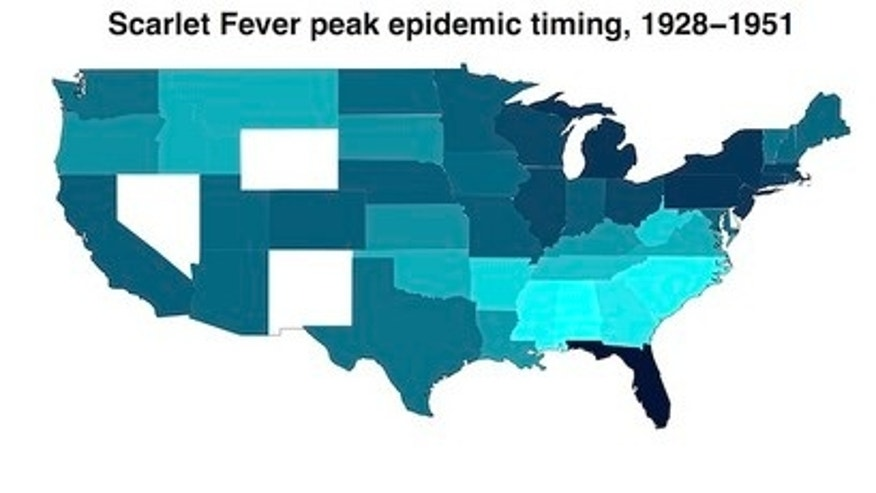 The timing of diphtheria and scarlet-fever infections show regional differences.