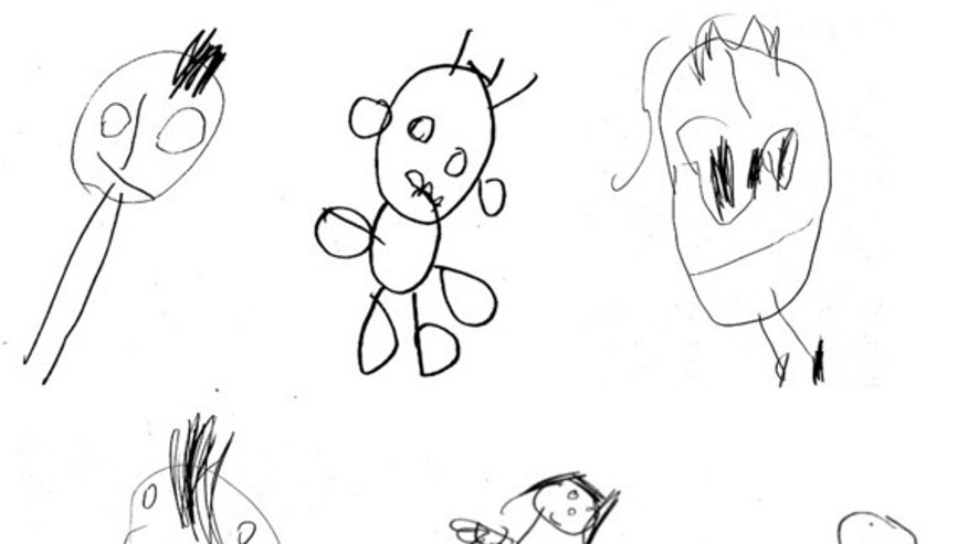 Examples of children's drawings from the Draw-a-Child test. Scores are from left to right: Top: 6,10,6; Bottom: 6,10,7.