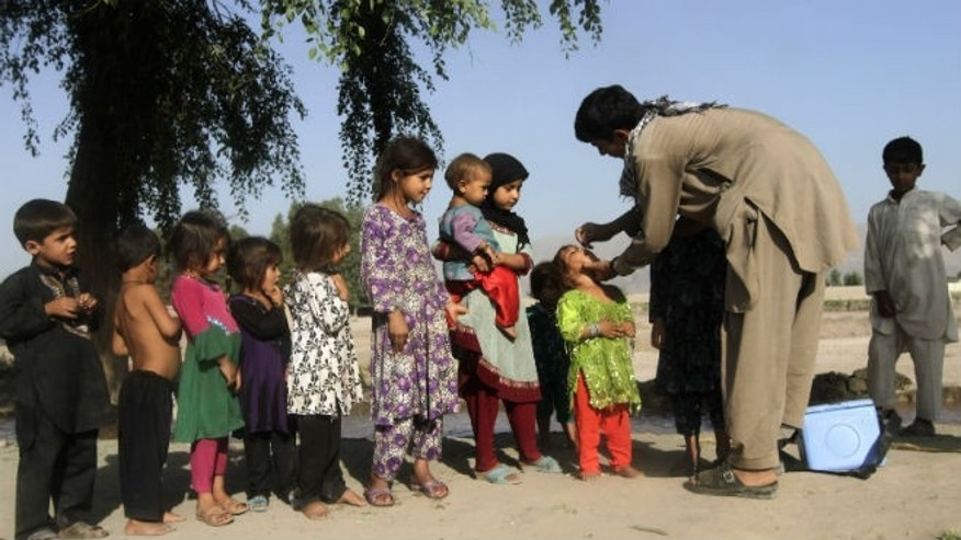 A girl receives polio vaccination during an anti-polio campaign on the outskirts of Jalalabad August 18, 2014. REUTERS/Parwiz
