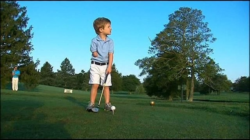 3-year-old Tommy Morrissey won't let the fact that he only has one arm stand in the way of his golf game.
