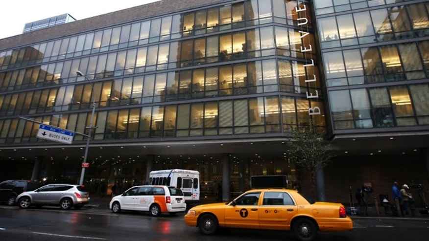 An exterior view of Bellevue Hospital in New York City, October 23, 2014. A physician with Doctors without Borders (MSF) who returned from West Africa recently and developed potential symptoms is being tested for Ebola at the hospital, health officials said on Thursday, setting off fresh fears about the spread of the virus. REUTERS/Mike Segar  (UNITED STATES - Tags: HEALTH DISASTER) - RTR4BDYU