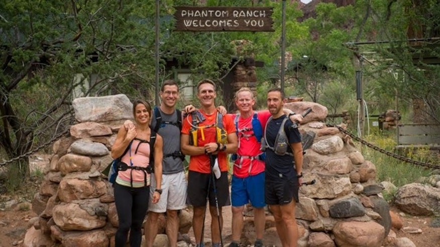 At Phantom Ranch, deep in the canyon, halfway to the North Rim. In order, left to right:  Alison Qualter Berna, Charles Scott, Dan Berlin, Brad Graff, Pete Kardasis. image courtesy Qualter Berna