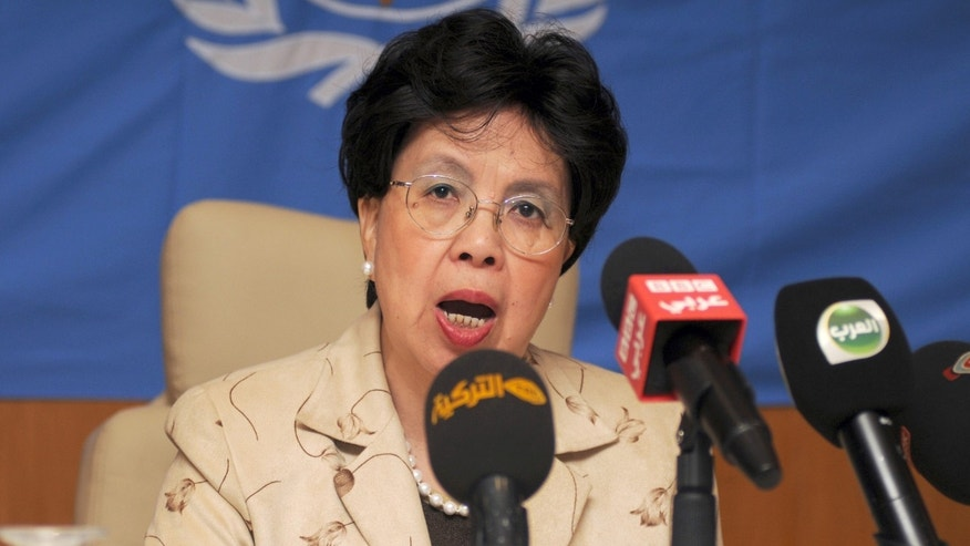 Oct. 19, 2014: In this photo, Margaret Chan, Director General of the World Health Organization (WHO), addresses the media during a media conference in Gammarth, northeastern Tunisia.