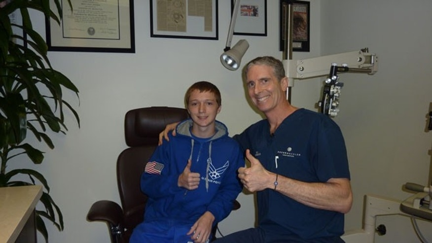 Jon Dase, 15,and Dr. Brian S. Boxer Wachler at the Boxer Wachler Vision Institute in Beverly Hills, Calif.