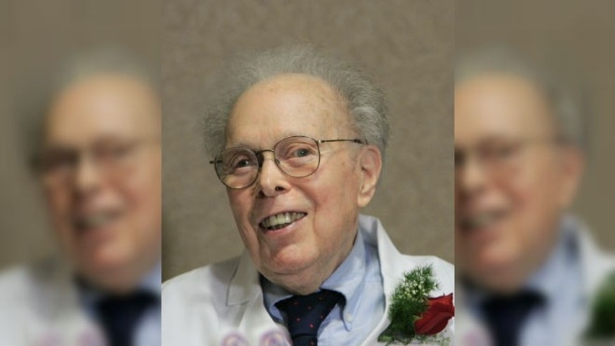 In this photo taken on Feb. 14, 2006, Dr. Denham Harman smiles at his 90th birthday celebration at the University of Nebraska Medical Center in Omaha, Neb. (AP Photo/Nati Harnik)