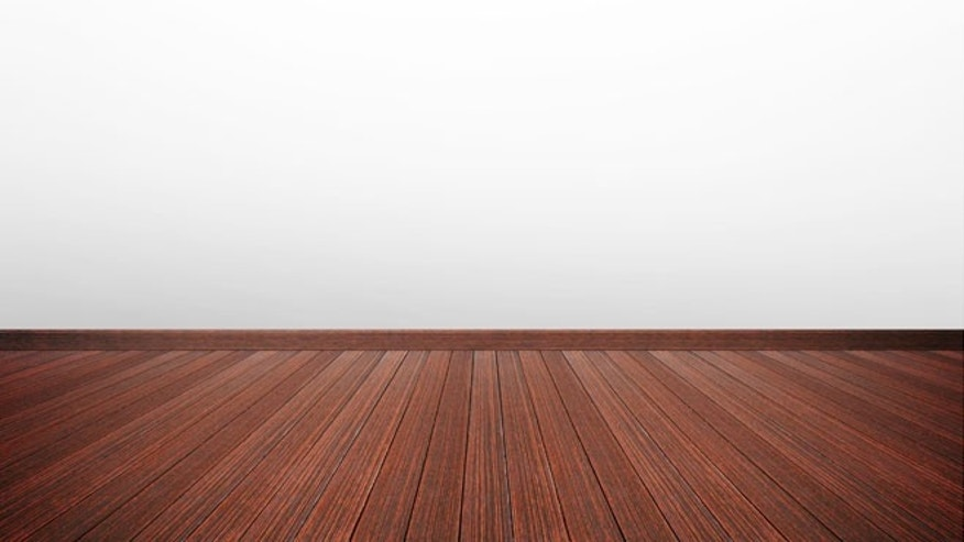 Wooden floor & white gray wall as empty room background