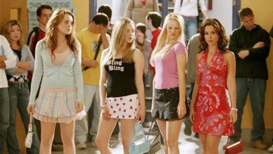 "From left, Lindsay Lohan, Amanda Seyfried, Rachel McAdams, and Lacey Chabert are shown in a scene from ""Mean Girls."""