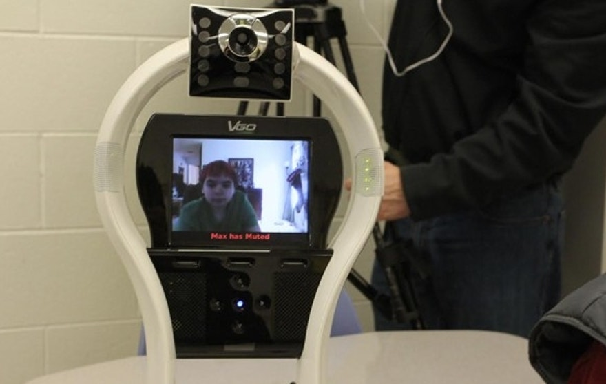 Max LaDue, who is suffers from a chronic medical condition, operates a Telerobot from home so he can attend his Durham County school.