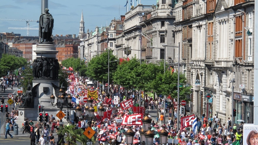 A Saturday, July 6, 2013 file photo showing thousands of anti-abortion protesters filling Dublin's major thoroughfare, as they march against Ireland's abortion bill. (AP Photo/Shawn Pogatchnik, File)