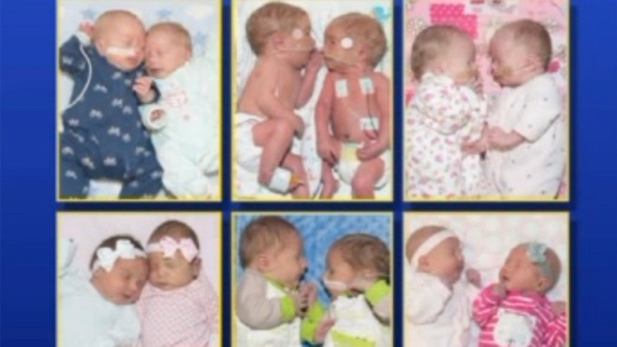Six sets of twins were born at Saint Luke's East Hospital within one month.