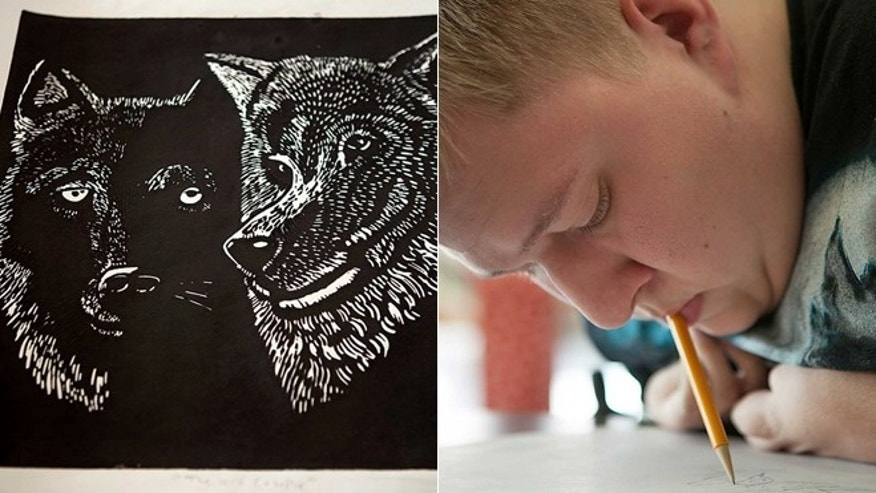Chance Smith, 17, has taken art classes since he was in sixth grade. Due to a rare condition called arthrogryposis that affects his joints, Chase paints and draws his art with his mouth.