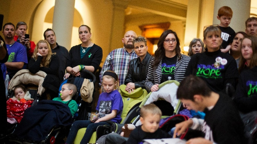 This Jan. 13, 2015 file photo, shows parents of children who suffer from epilepsy. (AP Photo/David Goldman, File)