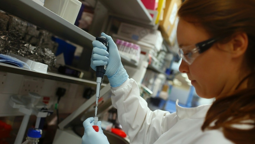 Research assistant Georgina Bowyer works on a vaccine for Ebola at The Jenner Institute in Oxford, southern England January 16, 2015.  REUTERS/Eddie Keogh