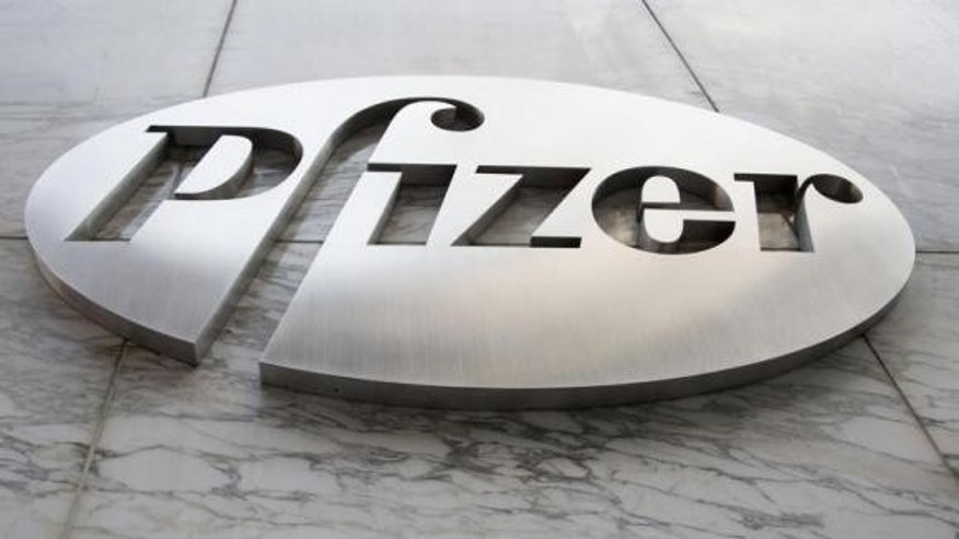 The Pfizer logo is seen at their world headquarters in New York.