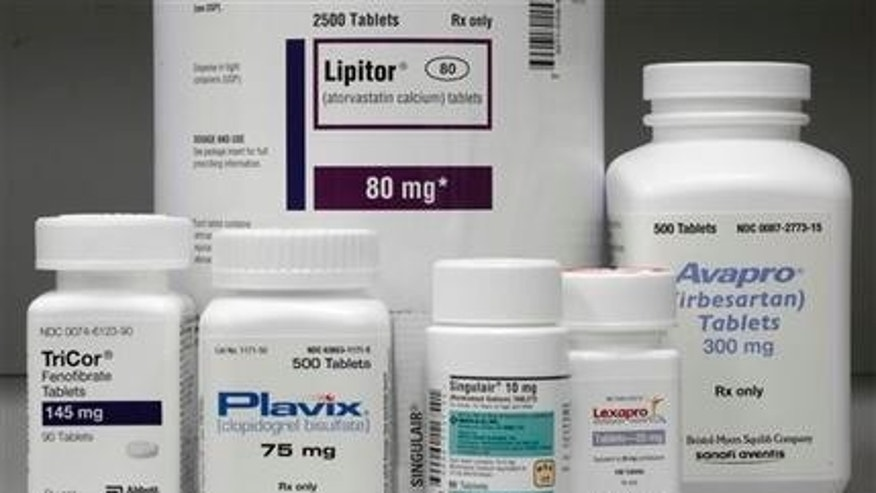June 14, 2011: In this file photo, bottles of prescription drugs: Lipitor, TriCor, Plavix, Singulair, Lexapro and Avapro are displayed at Medco Health Solutions Inc., in Willingboro, N.J.