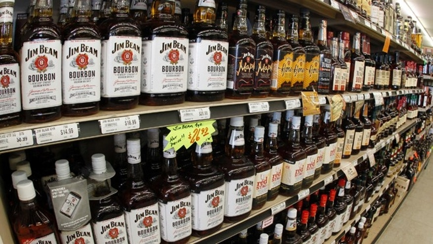 Jan. 28, 2014: A view of the many different types of Kentucky bourbon that are produced in Kentucky are displayed at a Party Mart liquor store in Louisville, Kentucky.