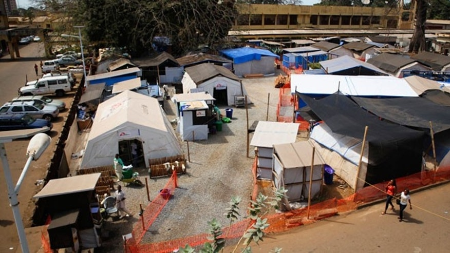 The Medecins Sans Frontieres Ebola treatment centre in the grounds of Donka Hospital is seen in Conakry February 11, 2015.