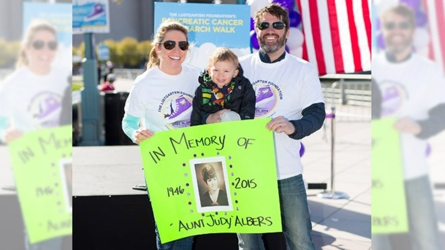 Fox News' Laura Ingle Kramme poses with her 2-year-old son, Jackson and her husband Kenny Kramme at the Lustgarten Foundation's New York City Pancreatic Cancer Research Walk at Pier 84 Hudson River Park on April 26. (© Avi Gerver)