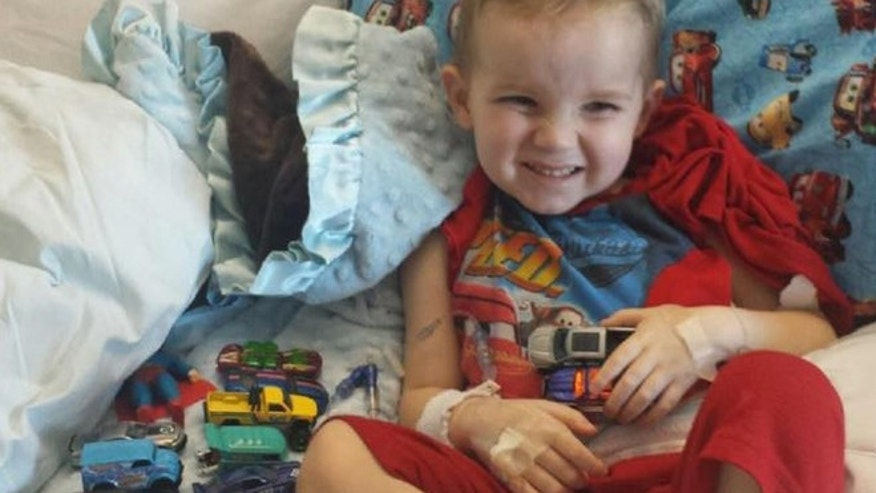 Ethan Carnesecca pictured with some of the Hot Wheels toys sent to him while he was in the hospital.
