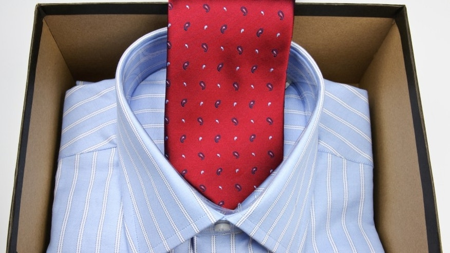 Red necktie and shirt in gift box