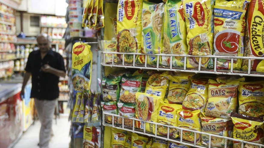 Packets of Nestle's Maggi instant noodles are seen on display at a grocery store in Mumbai, India, June 4, 2015. REUTERS/Shailesh Andrade