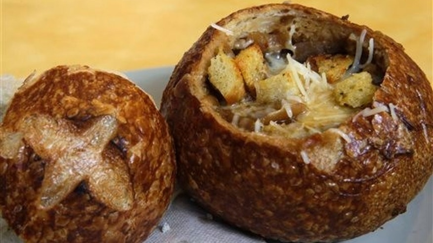 A Bistro French Onion Soup Bread Bowl is seen at a Panera bread restaurant, Tuesday, June 9, 2015, in New York. A Bistro French Onion Soup Bread Bowl contains more sodium than the recommended daily limit of 2,300 milligrams, which is equal to about 1 teaspoon of salt.  (AP Photo/Mary Altaffer)