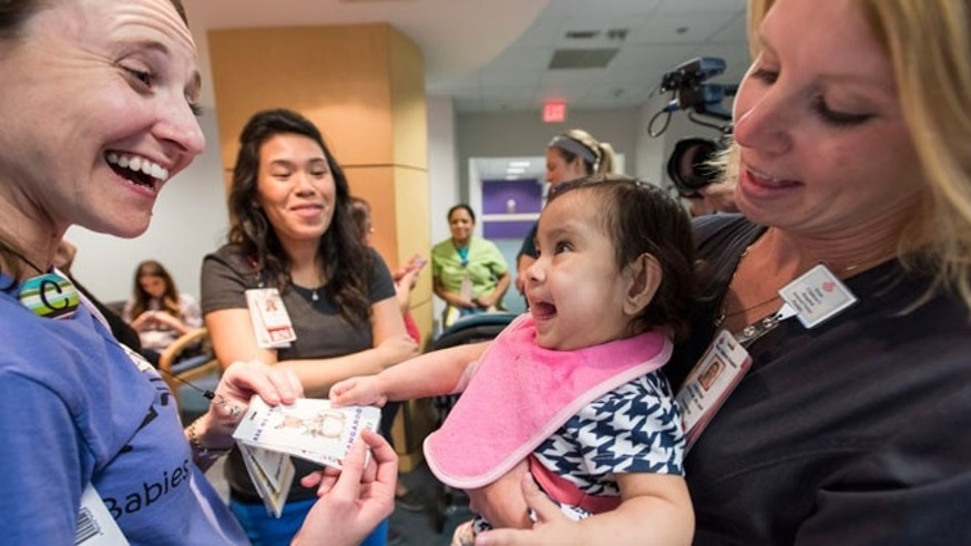 Knatalye Mata (pictured here), joins her twin, Adeline, Monday after being discharged from Texas Children's Hospital.