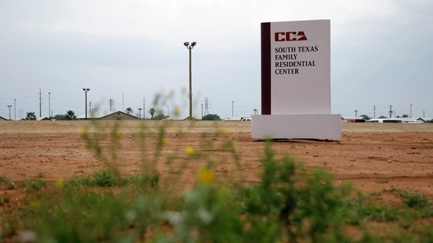 June 30. 2015: Photo shows a sign at the entrance to the South Texas Family Residential Center in Dilley, Texas.