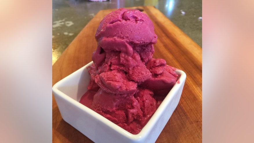 Strawberry-beet frozen yogurt.