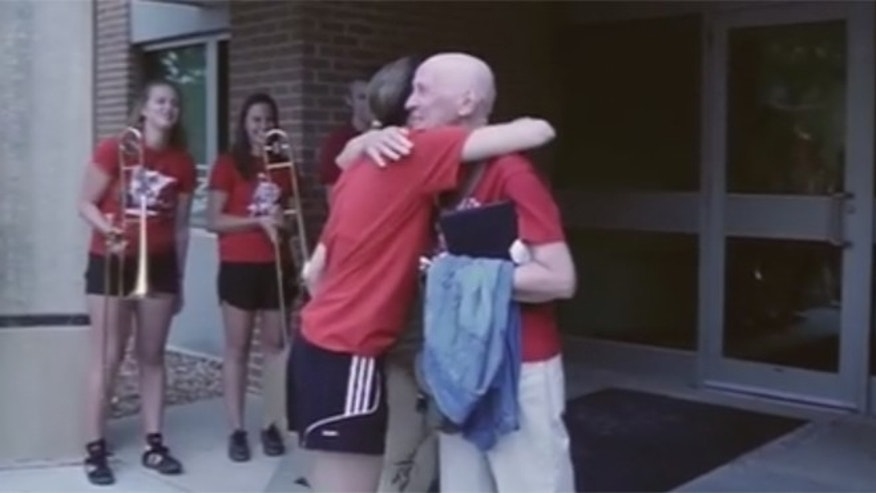 The University of Wisconsin Badger Marching Band accompanied Ann Trachtenberg out of her last chemotherapy treatment.