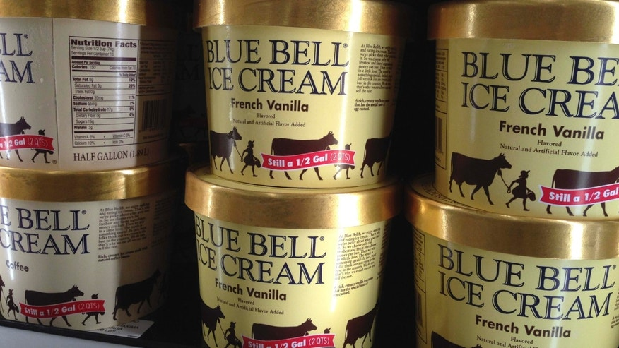 April 10, 2015: Blue Bell ice cream rests on a grocery store shelf in Lawrence, Kan. Blue Bell Creameries will lay off more than a third of its workforce following a series of listeria illnesses linked to its ice cream that prompted a nationwide recall, the Texas company announced.