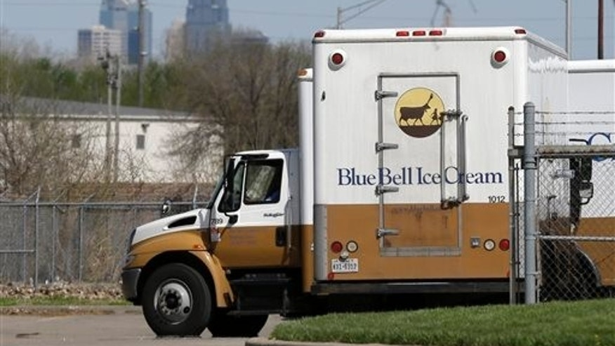FILE - In this April 10, 2015 file photo, Blue Bell delivery trucks are parked at the creamery's location in Kansas City, Kansas. (AP Photo/Orlin Wagner, File)