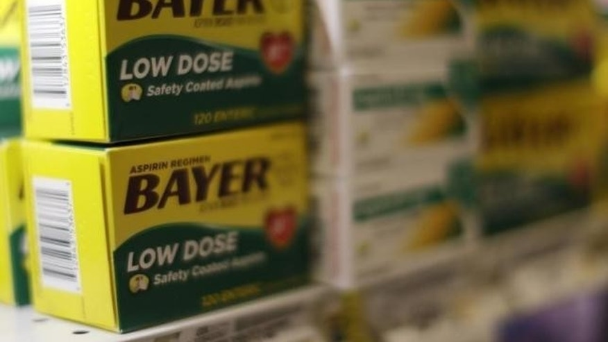 Feb. 13, 2015: Bayer brand aspirin is seen on display at the Safeway store in Wheaton, Maryland.