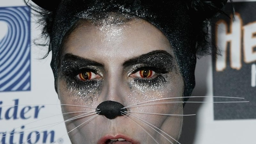 Supermodel and television personality Heidi Klum wears a cat costume with whiskers and special contact lenses to change her eye color as she arrives at the 8th annual Heidi Klum Halloween Party in Hollywood, California  October 31, 2007.    REUTERS/Fred Prouser