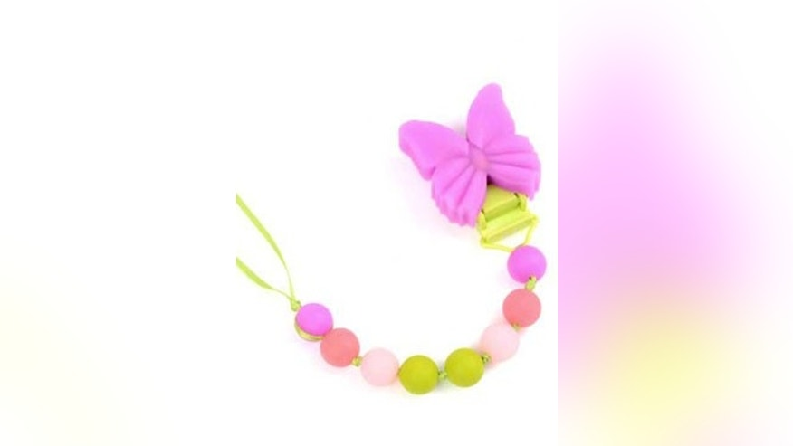 New York, New York-based Chewbeads Inc. has recalled over 45,000 pacifier clips (including the style pictured here, with a butterfly) due to a possible choking hazard. The company had not received any injury reports as of Wednesday morning, according to the Consumer Product Safety Commission.