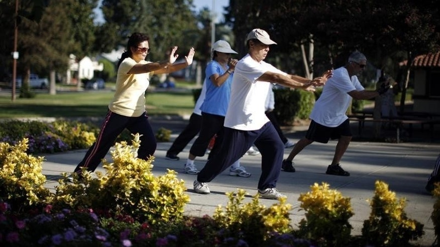 Johney Yu (2nd R), 75, who emigrated from China 40 years ago, and Diana Yang (L), who emigrated from China 28 years ago, practice tai chi at a daily class in Alhambra, home of many Chinese and Vietnamese migrants, in California August 14, 2014. REUTERS/Lucy Nicholson
