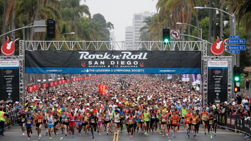 SAN DIEGO, CA - JUNE 03:  Runners start the 15th annual Rock 'n' Roll Marathon to benefit the Luekemia & Lymphoma Society on June 3, 2012 in San Diego, California. (Photo by Kent C. Horner/Getty Images)