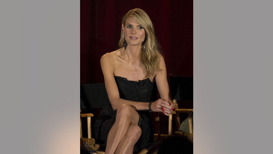 "Judge Heidi Klum attends a panel for the television series ""America's Got Talent"" during a NBC summer press day in Pasadena, California April 2, 2015."