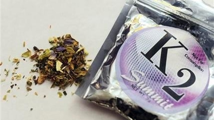 Feb. 15, 2010: This file photo shows a package of K2 which contains herbs and spices sprayed with a synthetic compound chemically similar to THC, the psychoactive ingredient in marijuana.