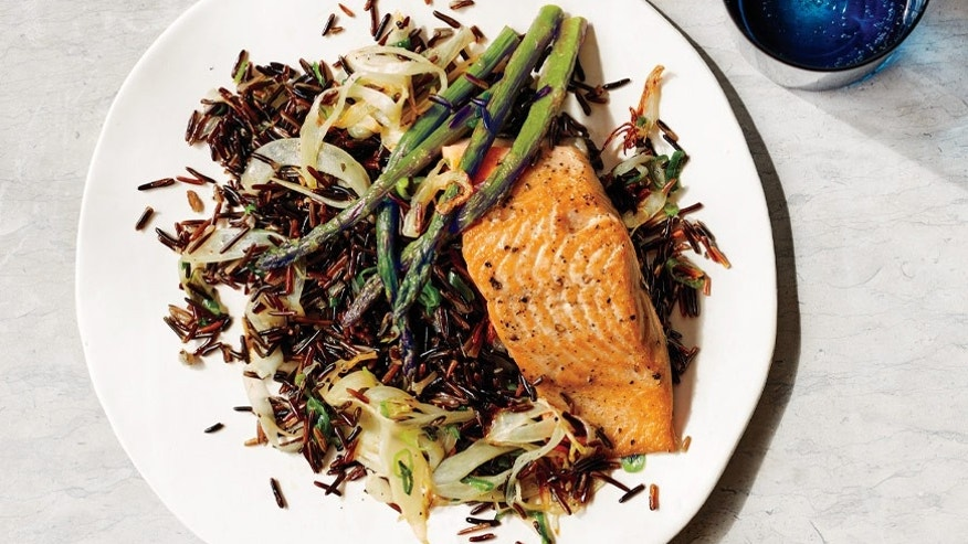 Arctic Char With Asparagus and Ginger-Fennel Wild Rice