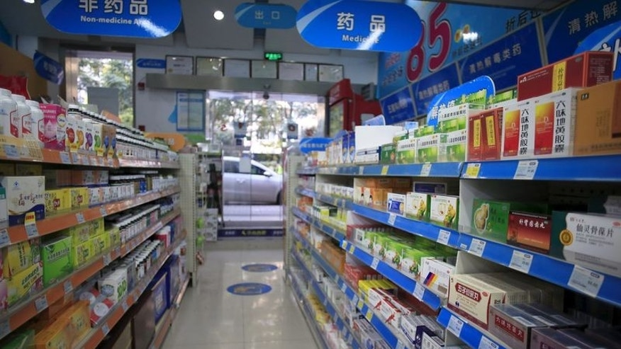 Shelves displaying medicines are seen at a pharmacy in Shanghai, China, November 27, 2015. REUTERS/Aly Song