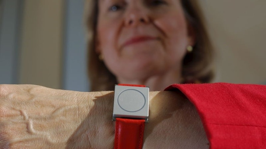 Rosalind Picard, MIT professor and chief scientist at Empatica, wears the company's Embrace device while posing for a portrait at the Massachusetts Institute of Technology in Cambridge, Massachusetts November 25, 2015.   REUTERS/Brian Snyder