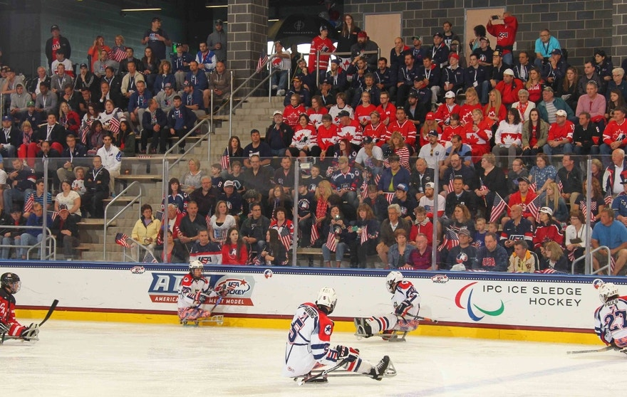 The USA v Canada gold medal game at the Harborcenter in Buffalo, NY as part of the 2015 IPC Ice Sledge Hockey World Championships A-Pool.