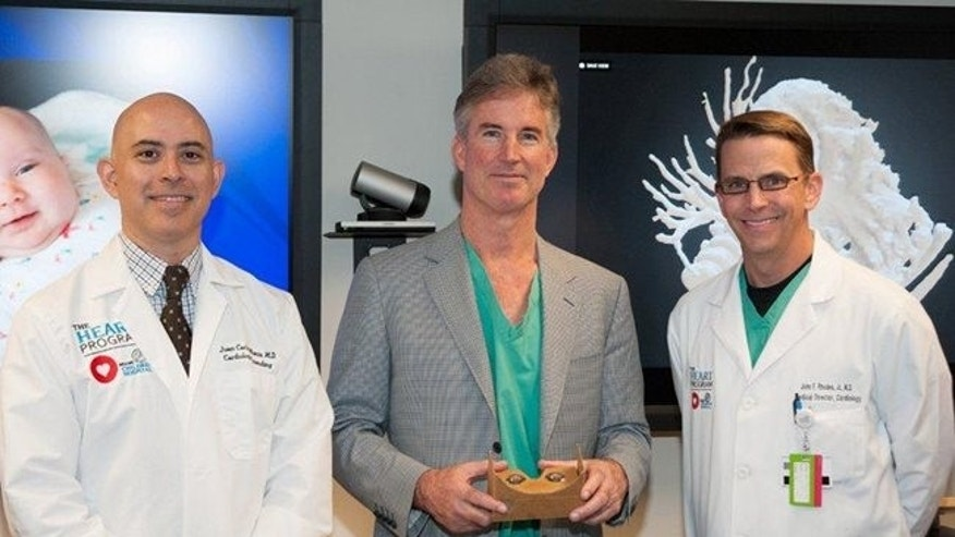 From left to right: Dr. Juan Carlos Muniz, Director of Cardiac MRI; Dr. Redmond Burke, Director of Cardiovascular Surgery and Dr. John Rhodes, Director of The Heart Program at Nicklaus Children's collaborated to plan the surgery to help Teegan Lexcen.