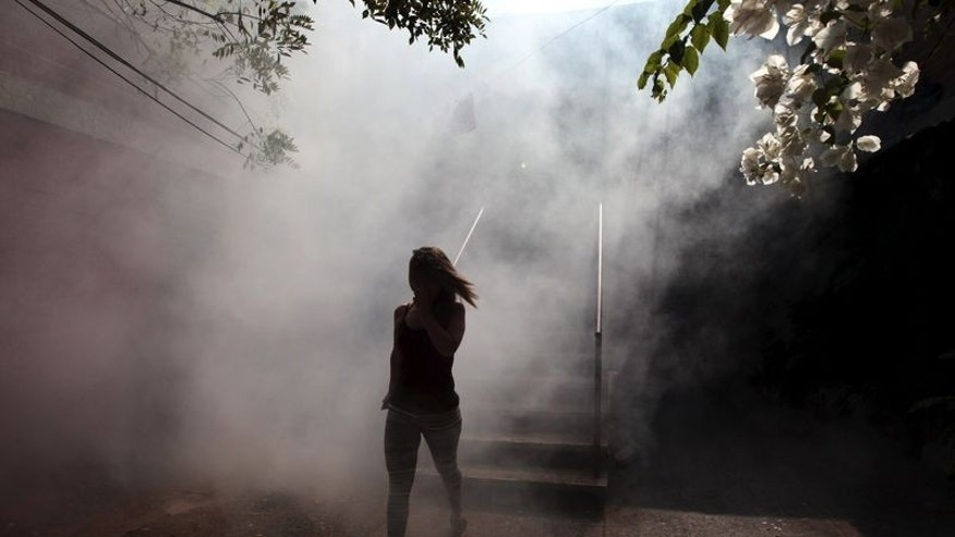 A woman walks away from her apartment as health workers fumigates the Altos del Cerro neighbourhood as part of preventive measures against the Zika virus and other mosquito-borne diseases in Soyapango, El Salvador January 21, 2016. REUTERS/Jose Cabezas