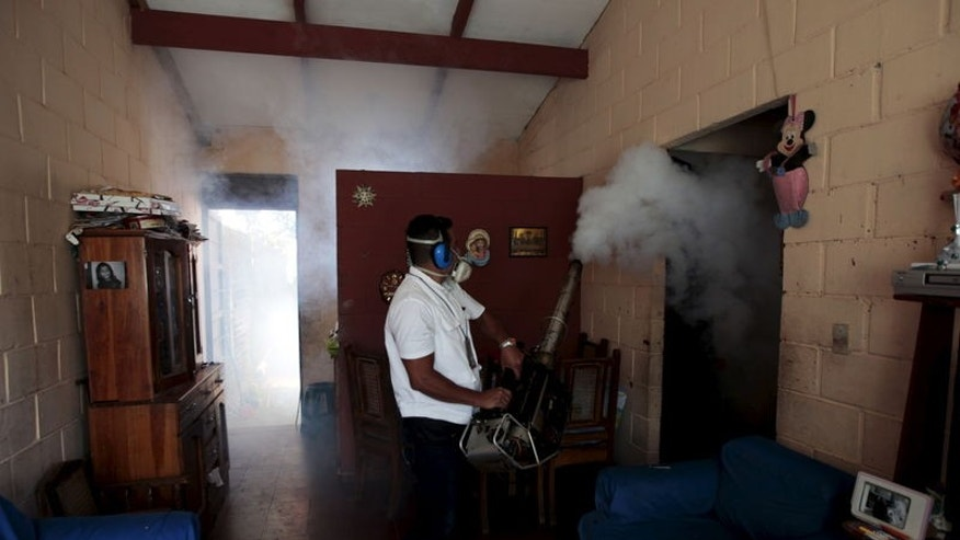 A health worker fumigates the Altos del Cerro neighbourhood as part of preventive measures against the Zika virus and other mosquito-borne diseases in Soyapango, El Salvador January 21, 2016. REUTERS/Jose Cabezas