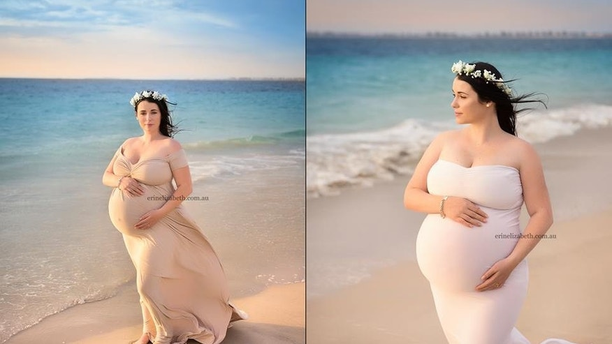 Kimberly Tucci is pictured on a beach in western Australia. She and her husband, Vaughn, are expecting quintuplets, which they conceived naturally.